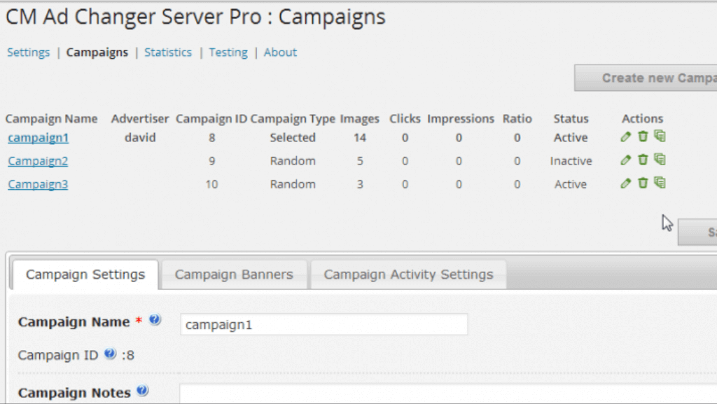 Ad Changer Server campaigns table - WordPress Ad Changer Plugin Will Turn Your Site Into An Ad Server