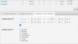 Campaign activity settings