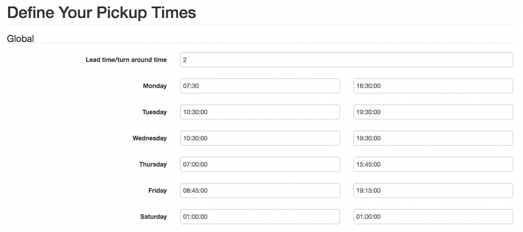 Pickup Time's back-end. Here, the admin can set the available hours for pickup