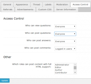 Access Restriction settings on cm answers wordpress forum plugin - stack exchange - voting -