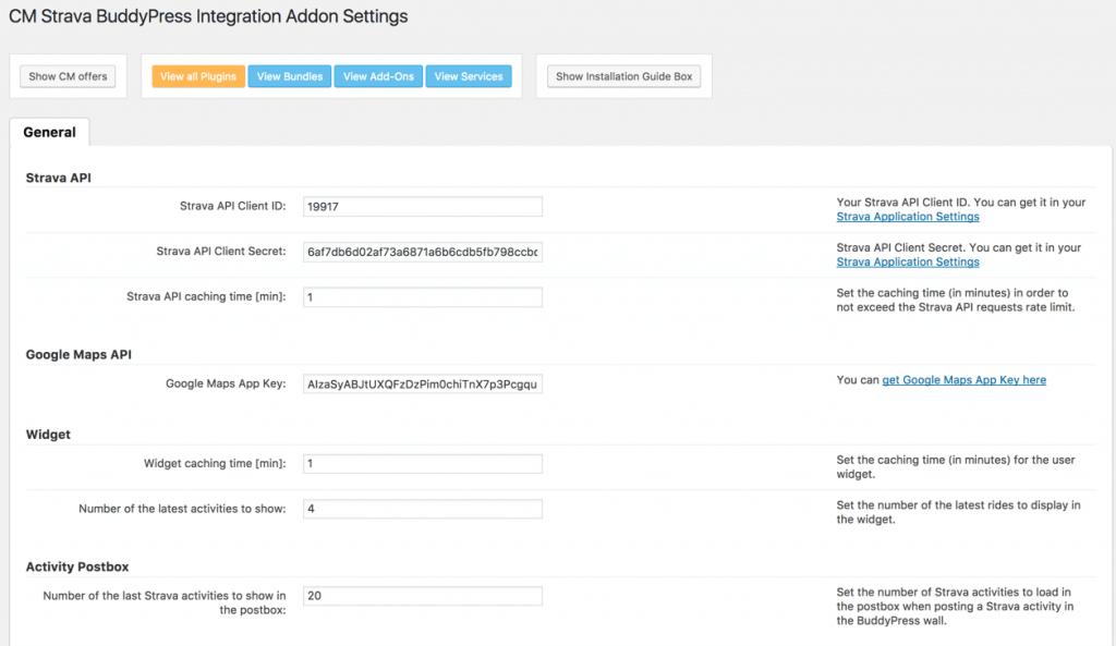 Strava API Settings