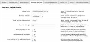 CM Business Directory index page settings