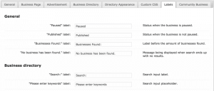 CM Business Directory label settings