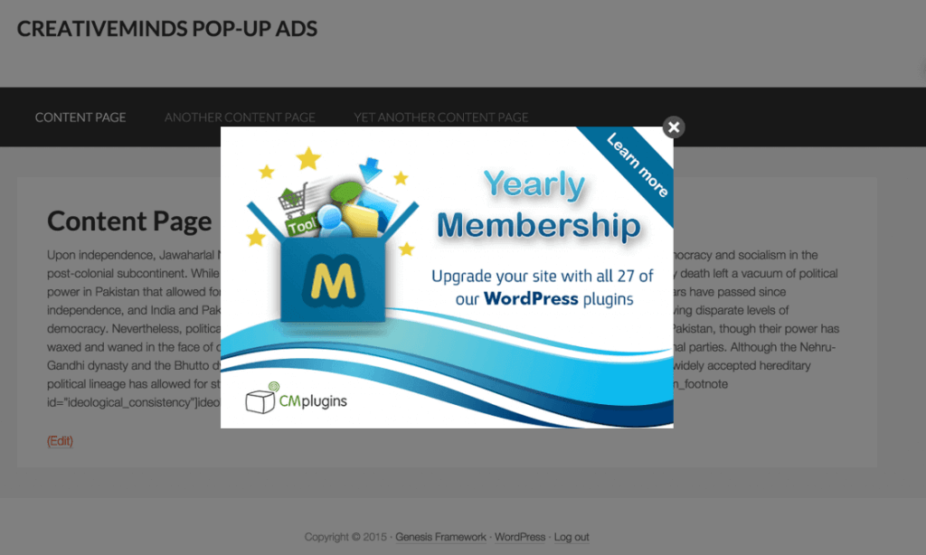 content marketing tools for wordpress- cm pop up banners