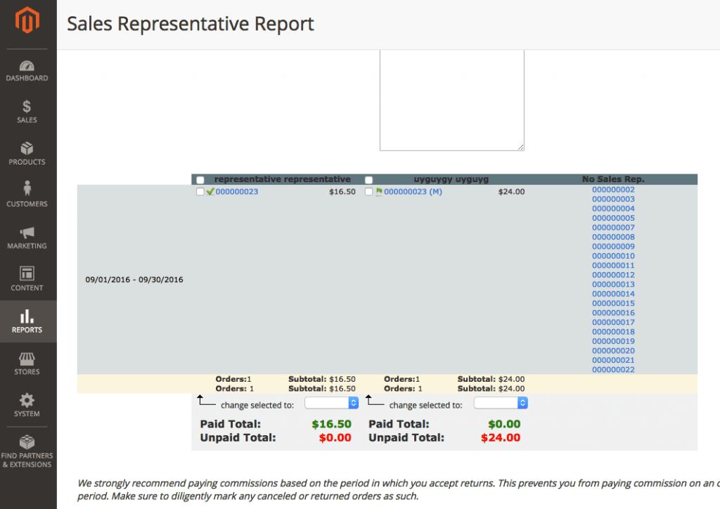 Comission Report Details