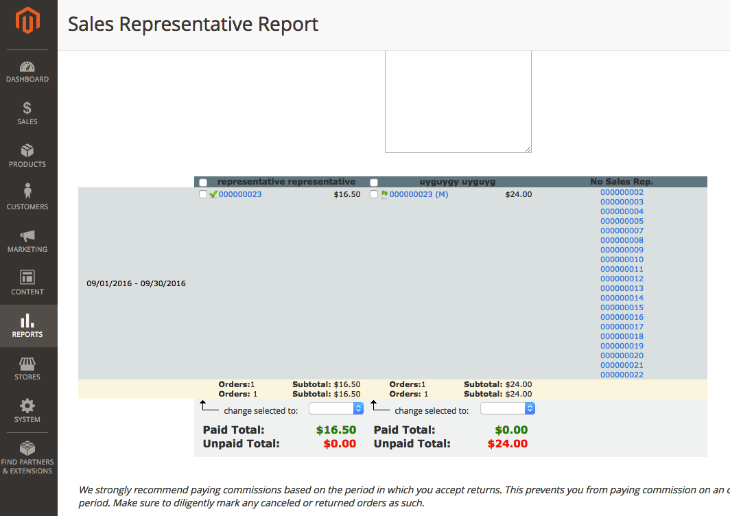 sales commission report