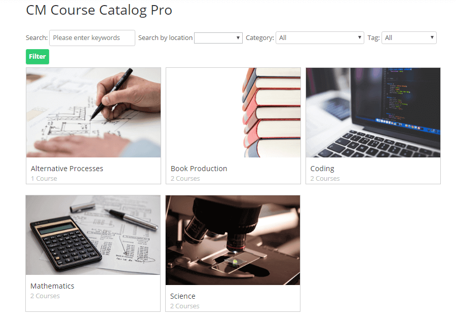 Catalog View - Course Catalog Plugin Images - 10 WordPress Plugins for E-Learning in 2020