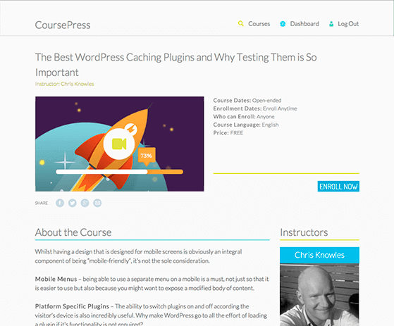 How a course looks in CoursePress - 10 WordPress Plugins for E-Learning in 2020
