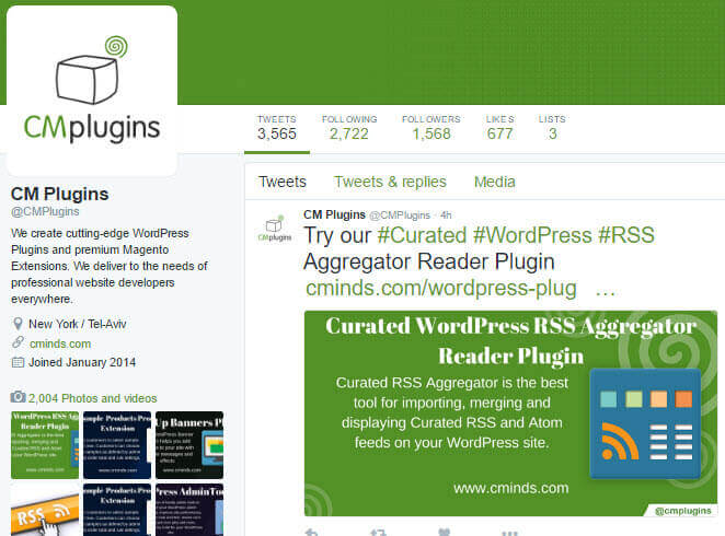 CreativeMinds Twitter Page - How to Market a WordPress Plugin & Increase Plugin Sales