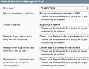 Custom error messages per cart rule