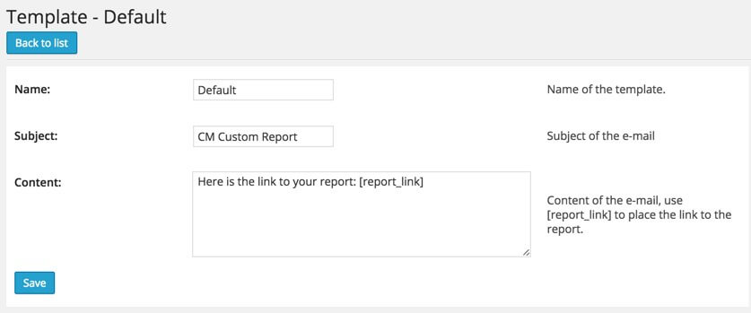 CM Custom Reports Templates