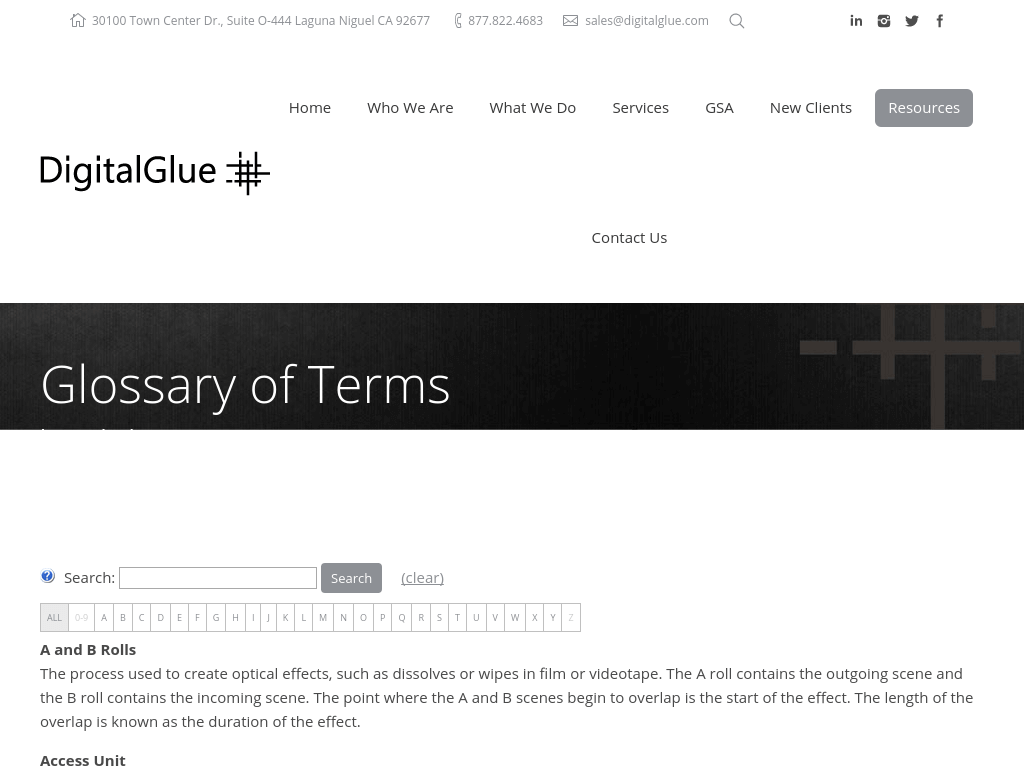 Digital Glue Glossary