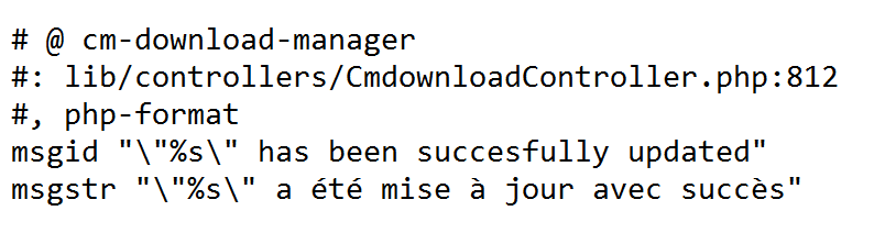 localization with CM Download Manager can easily be done using the /lang directory in the plugin