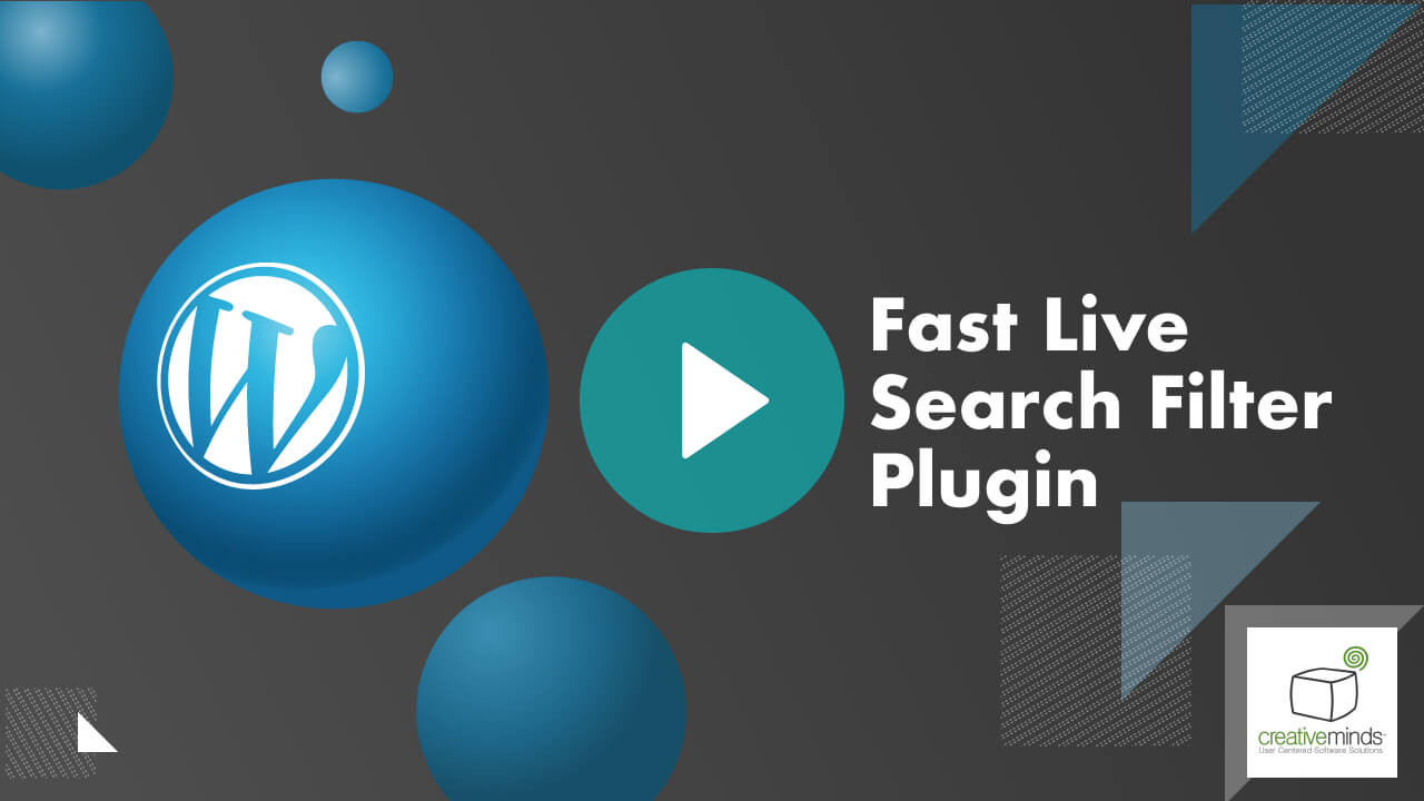 Fast Live Search Filter Plugin for WordPress by CreativeMinds video placeholder