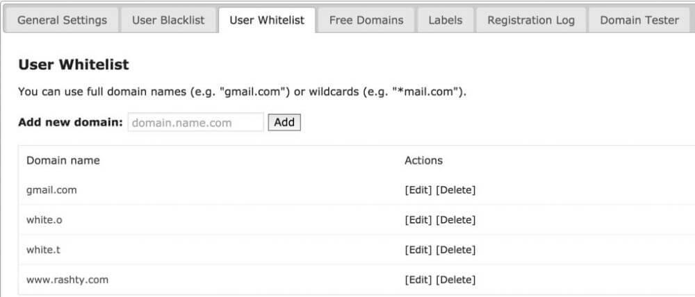 Email Registration Blacklist Approved Domains List