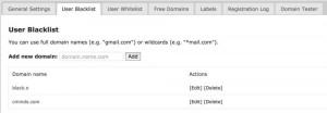 Email Registration Blacklist User Blacklist