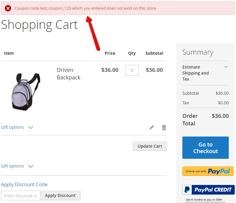 Showing an error message shown at checkout when a user adds a coupon which does not apply to the specific customer group