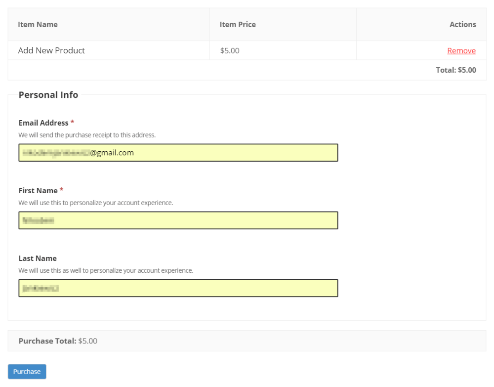 Cart Checkout with Product Payment