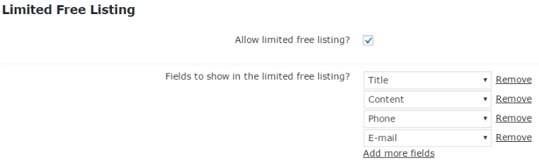 Showing setting screen in which admin can define which part of the business listing is free