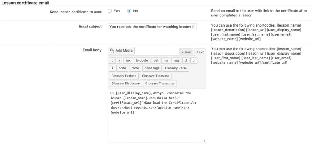 Lesson Certificate Settings
