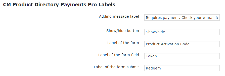 Setting Section with Plugin Payment Labels