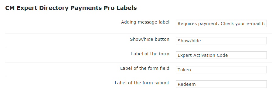Setting Screen Showing Member Directory Payment Labels