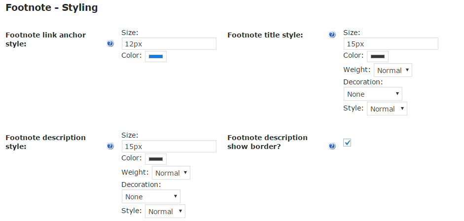 Footnote Style Settings