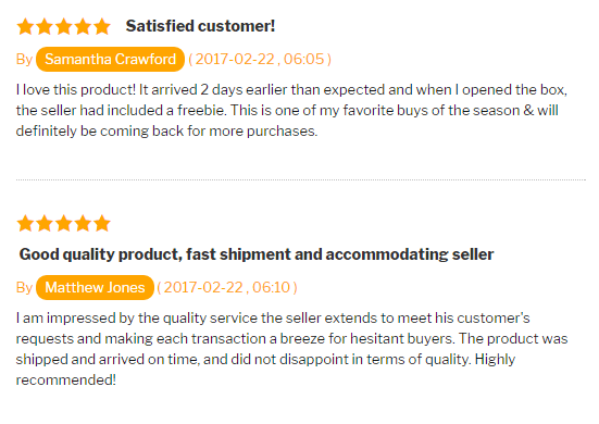 Reviews tile view