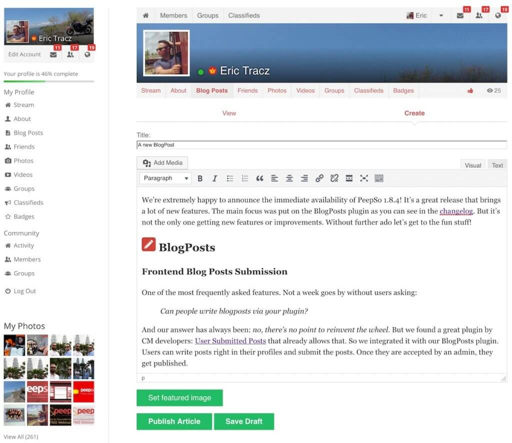 frontend submission blogposts new config PeepSo social networking plugin for WordPress