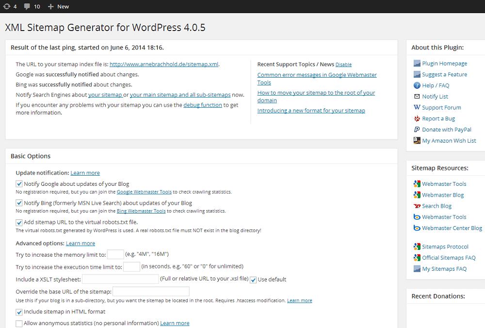 Google xml sitemaps screenshot - 10 Plugins Every WordPress Site Needs