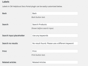 HelpScout WordPress plugin labels