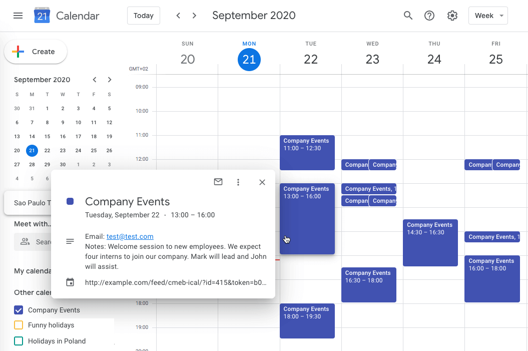Google Calendar showing calendar managed by the plugin