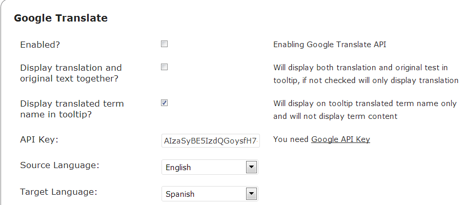 google translate api for displaying content in other languages- WordPress Translation Plugin