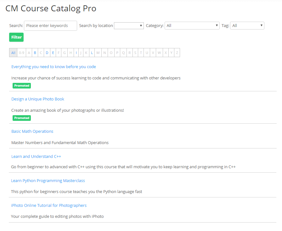 List View - Course Catalog Plugin Images