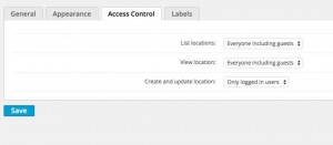Locations Access Control Settings - WordPress Google Map Locations Plugin Screenshot