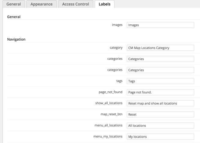 Location Plugin Labels Settings