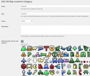 Location Category Icon Selection - WordPress Google Map Locations Plugin Screenshot
