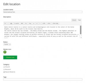 Editing Location Page - WordPress Google Map Locations Plugin Screenshot
