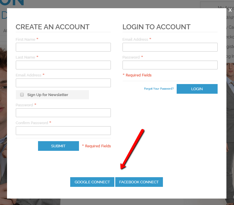 The login and registration screen with social login buttons