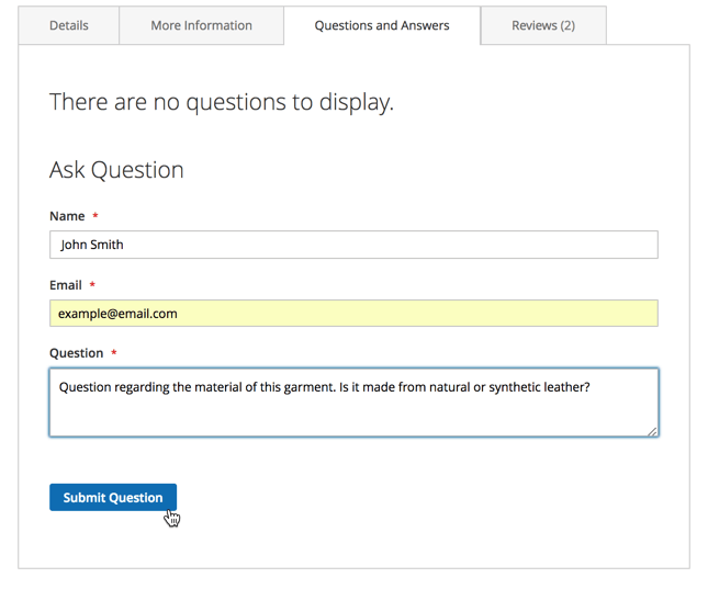 Asking questions on the frontend