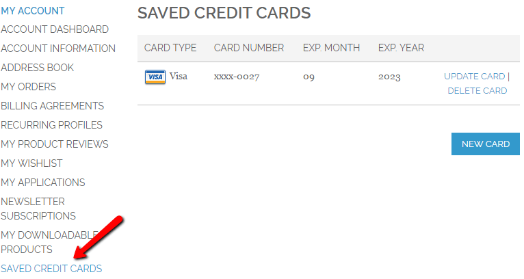Showing my credit cards section in customer  account