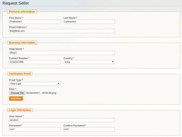 Vendor registration and verification page