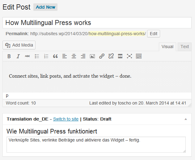 Multipress WordPress translation plugin Multilingual Press - WordPress Translation and Localization - Tips and Tricks
