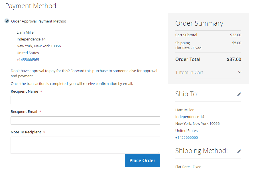 Cart Order Approval Payment Method