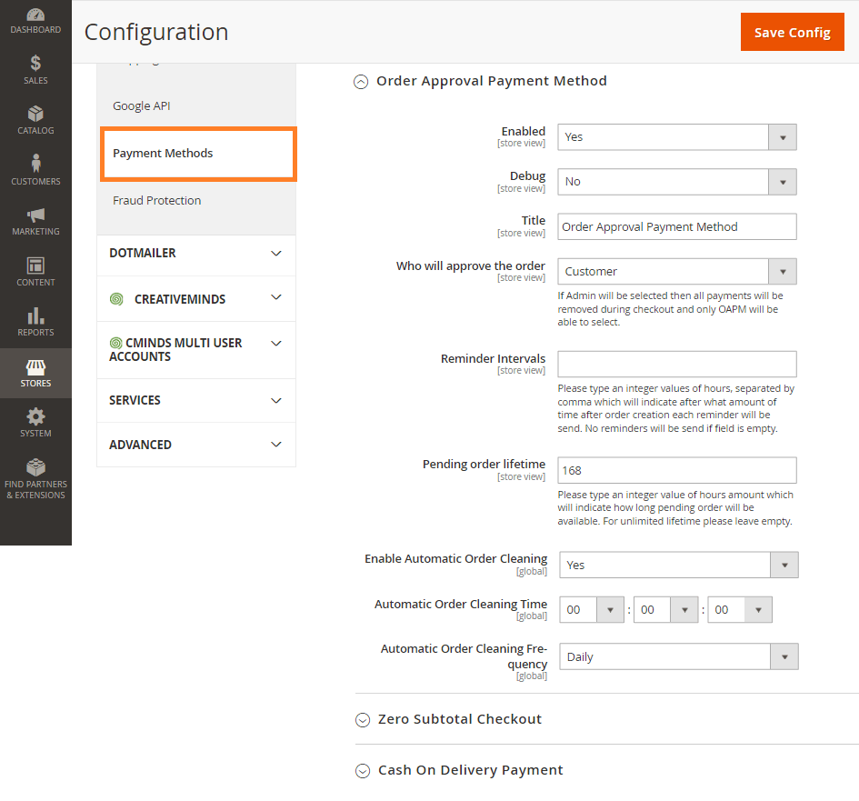 Order Approval Magento 2 - General Settings
