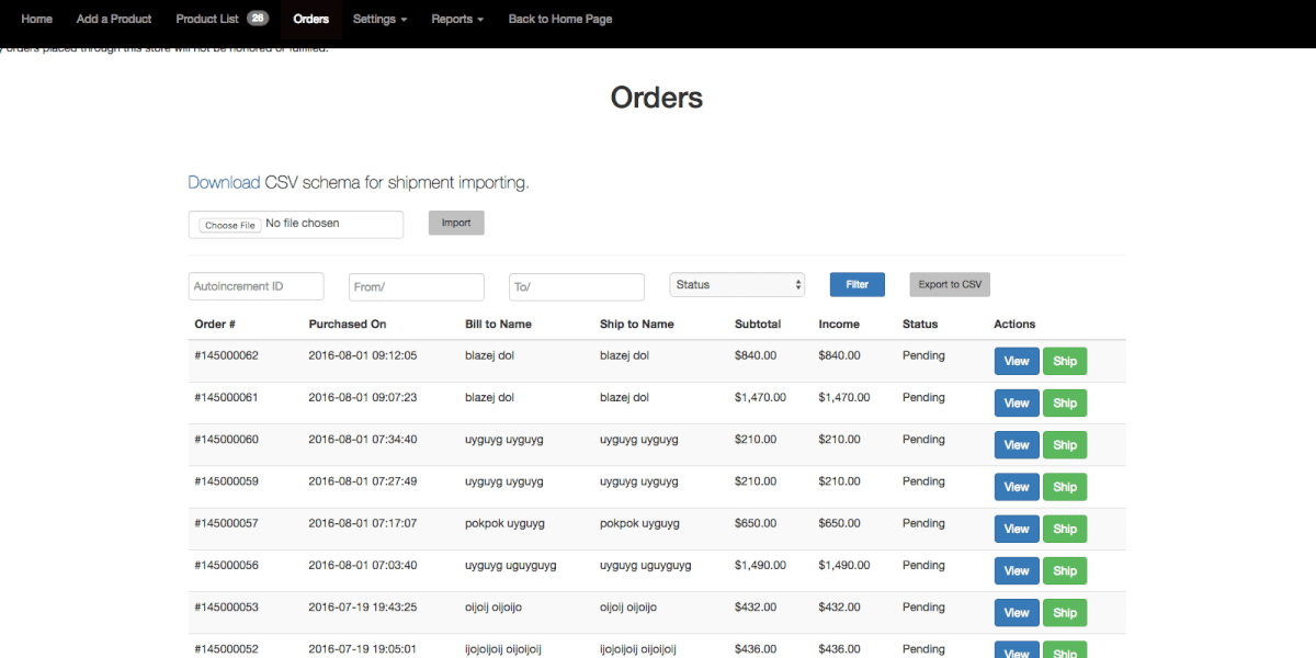 Orders list as shown from the vendor dashboard