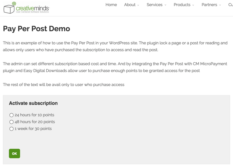 Post Page with Subscription Options