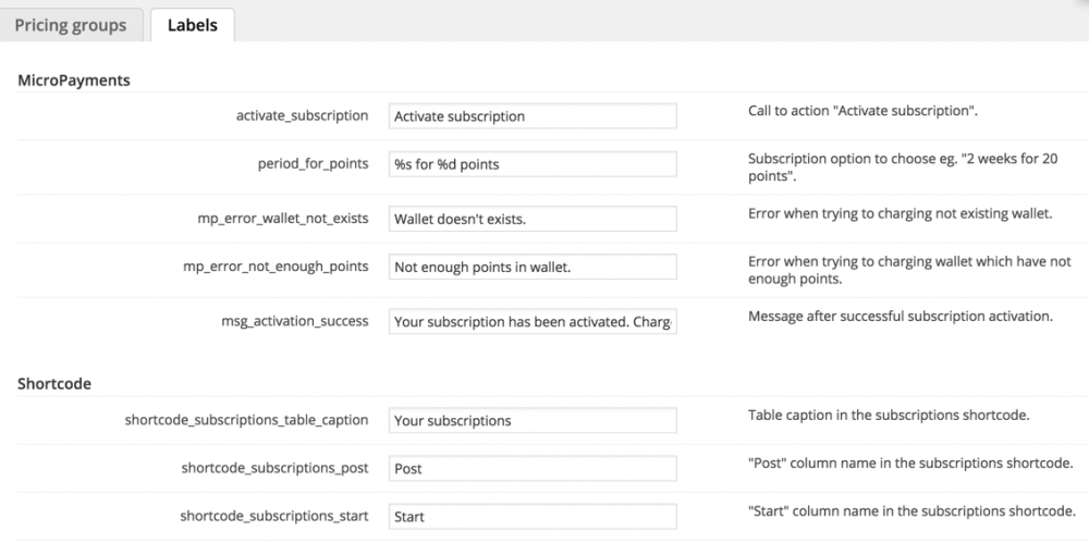 Settings Screen For Plugin Labels and Messages