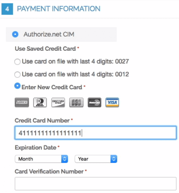 Showing checkout screen with Authorize.Net CIM section embedded