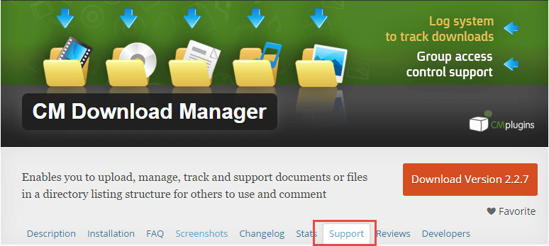 Support tab for CM Download Manager plugin